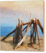 Driftwood Sculpture At Rincon Wood Print by Ron Regalado