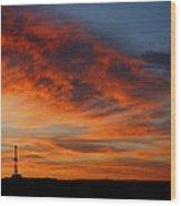 Drilling Rig Sunrise Wood Print