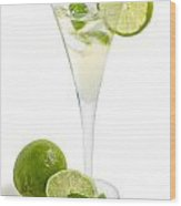 Drink With Lime And Mint In A Champagne Glass Wood Print