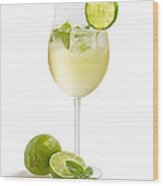 Drink With Lime And Mint In A Wine Glass Wood Print