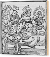 Drinking Party, 1516 Wood Print