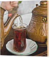 Drinking Traditional Turkish Tea Wood Print
