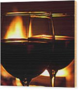 Drinks By The Fire Wood Print
