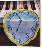 Dripping Clock On Piano Keys Wood Print by Garry Gay