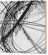 Drippy Circles Black Wood Print
