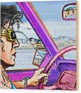 Driving Through Arizona Wood Print