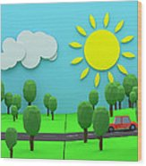 Driving Through Countryside Wood Print