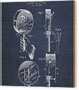 Droop Hand  Drum Patent Drawing From 1892 - Navy Blue Wood Print
