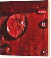 Droplets On Red Wood Print