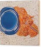 Dropped Plate Of Spaghetti On Carpet Wood Print