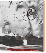 Drops Of Water With Red Wood Print