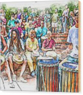 Drum Circle Of Friends Wood Print