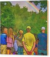 Drum Circle Rainbow Wood Print