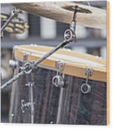 Drum Kit Set Closeup Wood Print
