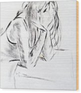 Dry Brush Painting Of A Young Womans Face Wood Print