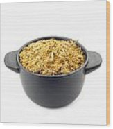 Dry Chamomile In A Black Cup Wood Print