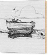 Dry Dock In Ocracoke Nc 1970s Wood Print