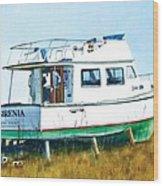 Dry Docked Cabin Cruiser Wood Print