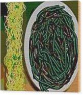 Dry Sauteed Stringbeans Wood Print
