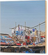 Drying Clothes Indian Style Wood Print