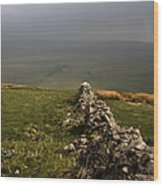 Drystone Wall  Misty Day Kettlewell Wharfedale North Yorkshire England Wood Print