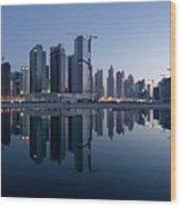 Dubai Business Bay Skyline With Wood Print