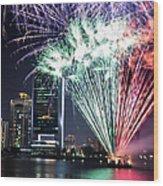 Dubai Creek Fireworks Wood Print