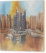 Dubai Marina Complex Wood Print