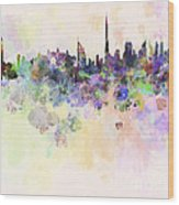 Dubai Skyline In Watercolour Background Wood Print