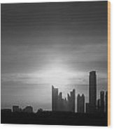 Dubai Sunset Black And White Wood Print