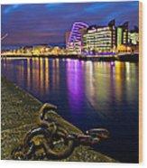 Dublin Docklands At Night / Dublin Wood Print