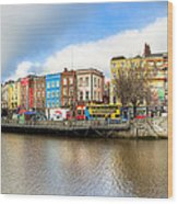 Dublin River Liffey Panorama Wood Print by Mark E Tisdale