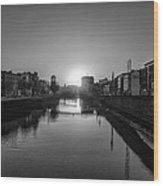 Dublin Sunrise - Liffey River In Black And White Wood Print