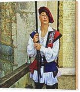 Dubrovnik Guard Wood Print