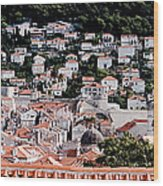 Dubrovnik Rooftops Domes And North East Walls Against The Mountains From The Sea Walls Wood Print
