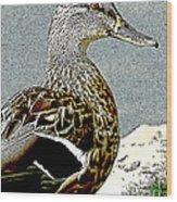 Duck Art Tribal Mallard Wood Print