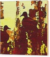 Ducks On Red Lake 3 Wood Print