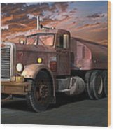 Duel Truck With Trailer Wood Print by Stuart Swartz
