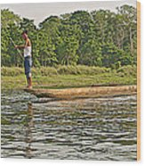 Dugout Canoe In The Rapti River In Chitin National Park-nepal Wood Print
