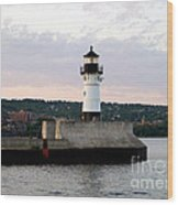 Duluth Mn Lighthouse Skyline Wood Print