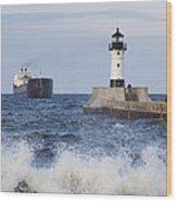 Duluth N Pierhead And Ship 1 Wood Print