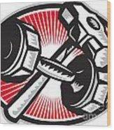 Dumbbell And Sledgehammer Retro Wood Print
