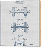 Dumbbell Patent Drawing From 1935  -  Blue Ink Wood Print