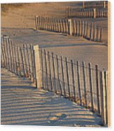 Dune Fences Early Morning Wood Print