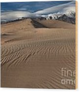 Dunes Ripples And Clouds Wood Print