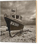 Dungeness Boat Under Stormy Skies Wood Print