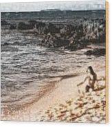 Duotone Beach Scene Wood Print