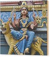 Durga Statue On Hindu Gopuram Wood Print