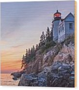 Dusk At Bass Harbor Light Wood Print