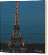 Dusk At Eiffel Tower Wood Print